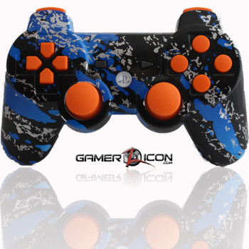 PS3 Modded Controller Savage Blue Orange
