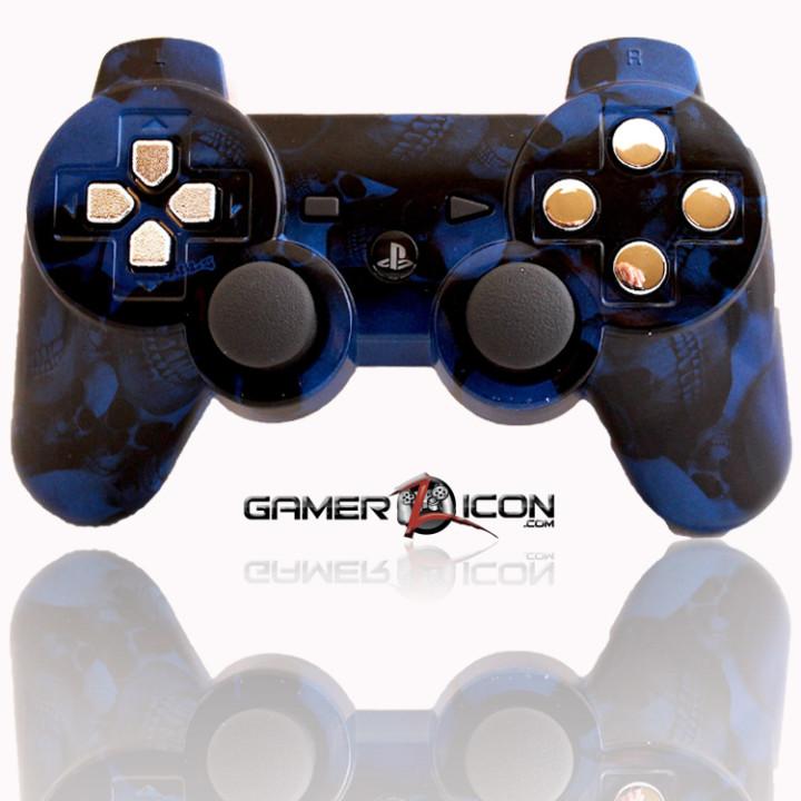 PS3 Modded Controller Skull Blue Chrome