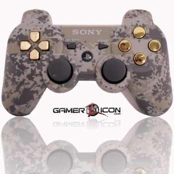 PS3 Modded Controller Urban Camo Chrome Gold