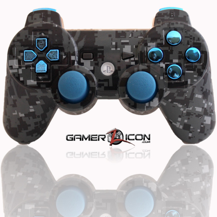 PS3 Navy Digital Camo Chrome Blue Modded Controller