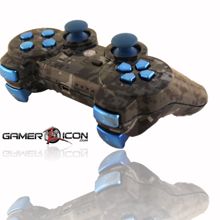 PS3 Navy Digital Camo Chrome Blue Rapid Fire Controller