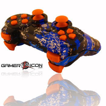 PS3 Savage Blue Orange Rapid Fire Controller