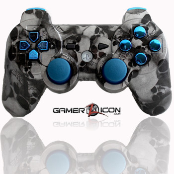 PS3 Skull Silver Chrome Blue Modded Controller
