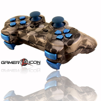 PS3 Skull Silver Chrome Blue Rapid Fire Controller