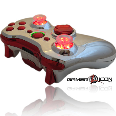 Xbox 360 Chrome All Chrome Red Raptor Fire Controller