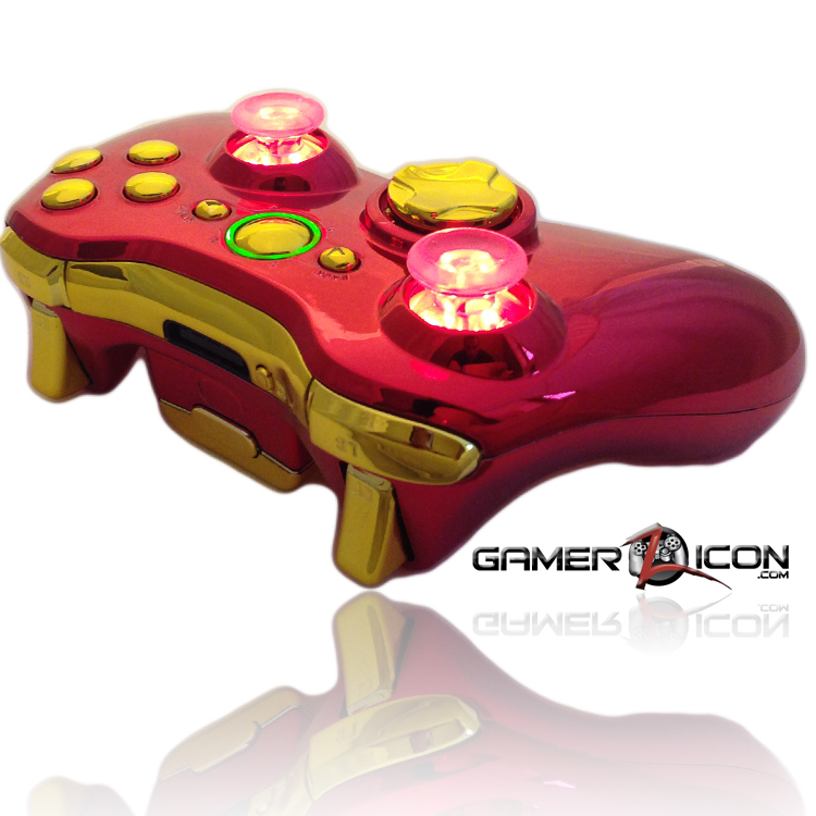 Xbox 360 Chrome Red Gold Raptor Fire Controller