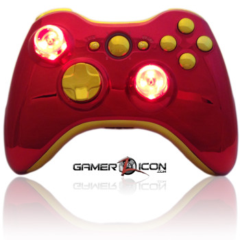 Xbox 360 Chrome Red Gold Raptorfire