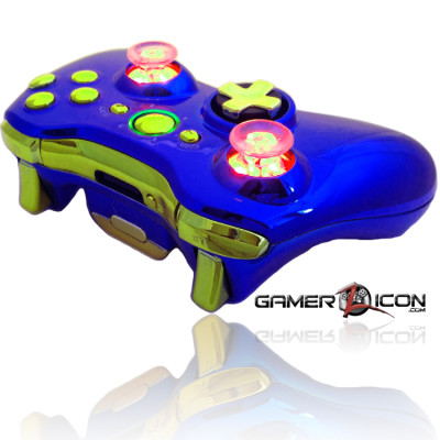 Xbox 360 Chrome Blue Gold Raptor Fire Controller