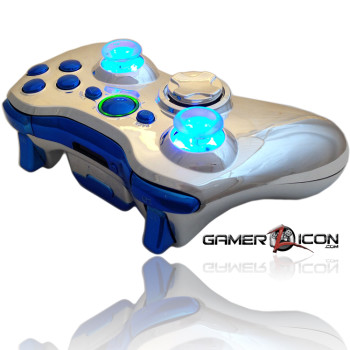 Xbox 360 Chrome Blue Raptor Fire Controller