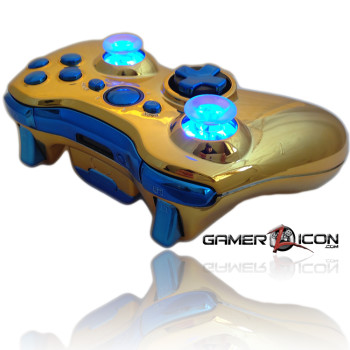 Xbox 360 Chrome Gold Blue Raptor Fire Controller