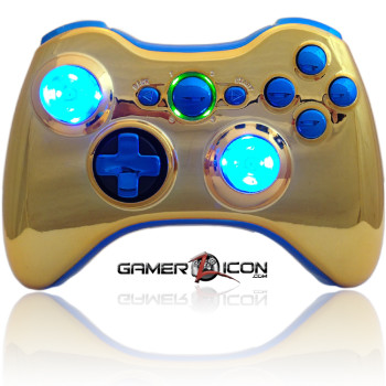 Xbox 360 Chrome Gold Blue Raptorfire