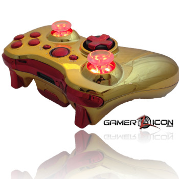 Xbox 360 Chrome Gold Red Raptor Fire Controller
