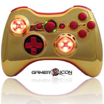 Xbox 360 Chrome Gold Red Raptorfire