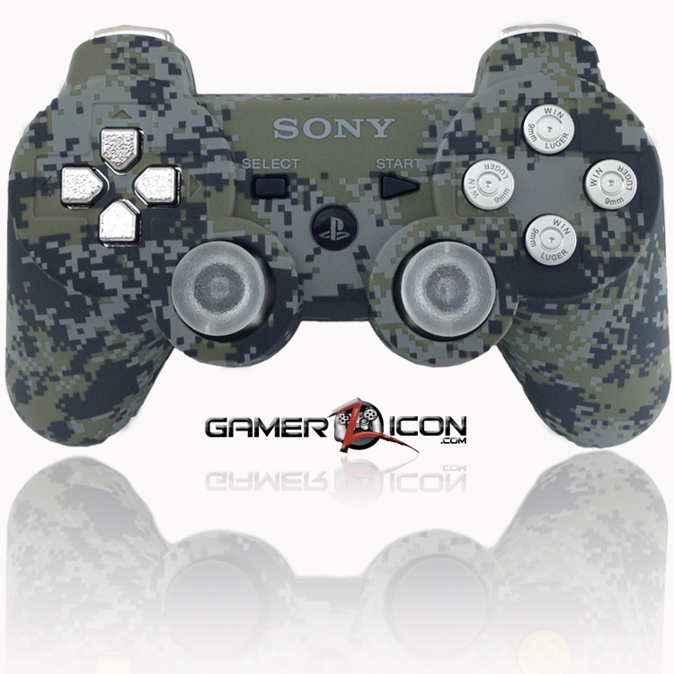 PS3 Modded Controller Urban Camo Chrome Bullet Buttons