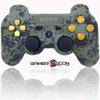 PS3 Modded Controller Urban Camo Gold Bullet Buttons