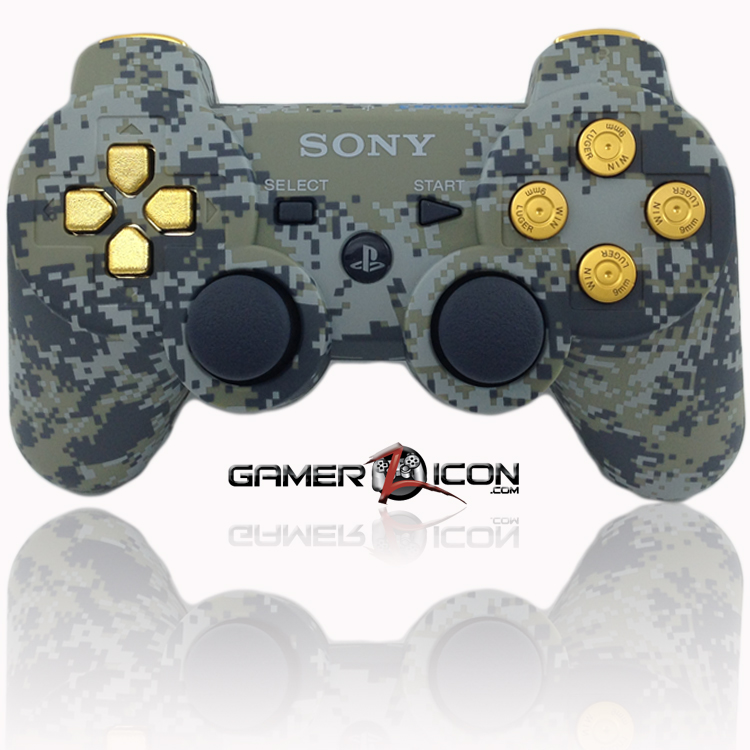 PS3 Modded Controller Urban Camo Gold Bullet Buttons