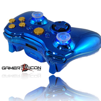 Xbox 360 Chrome Blue Raptorfire Bullet Button Edition