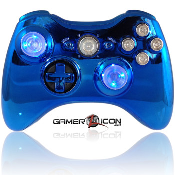 Xbox 360 Chrome Blue Raptorfire Bullet Edition