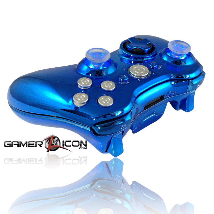 Xbox 360 Chrome Blue Raptorfire Chrome Bullet Button Edition