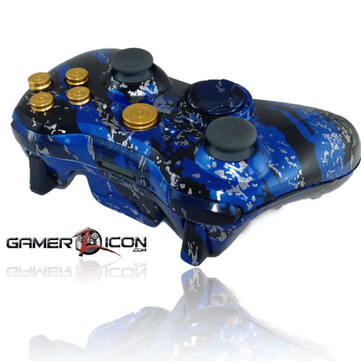 Xbox 360 Savage Blue Gold Bullet Button Edition