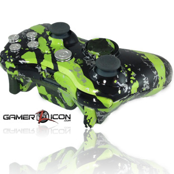 Xbox 360 Savage Green Modded Controller Chrome Bullet Edition