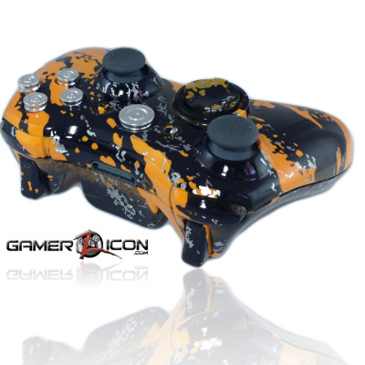 Xbox 360 Savage Orange Chrome Bullet Button Modded Controller