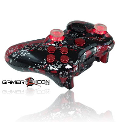 Xbox 360 Savage Red With Color Changing Thumbsticks Red Bullet Buttons