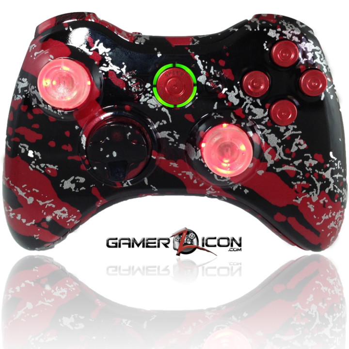 Xbox 360 Savage Red With Red Bullet Buttons