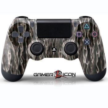 PS4 Black Silver Flames Controller