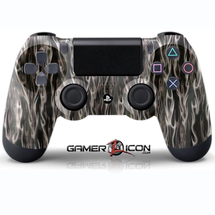 PS4 Black Silver Flames Controller