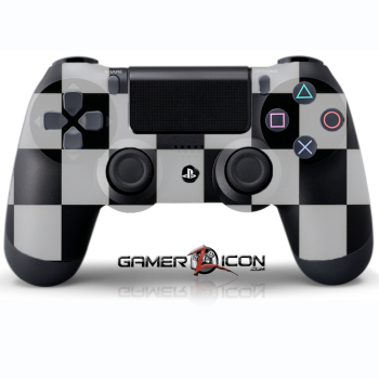 PS4 Black White Checker Controller