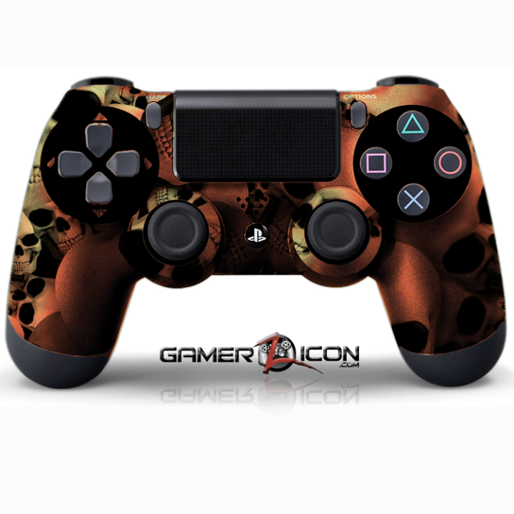 PS4 Skull Gold Controller