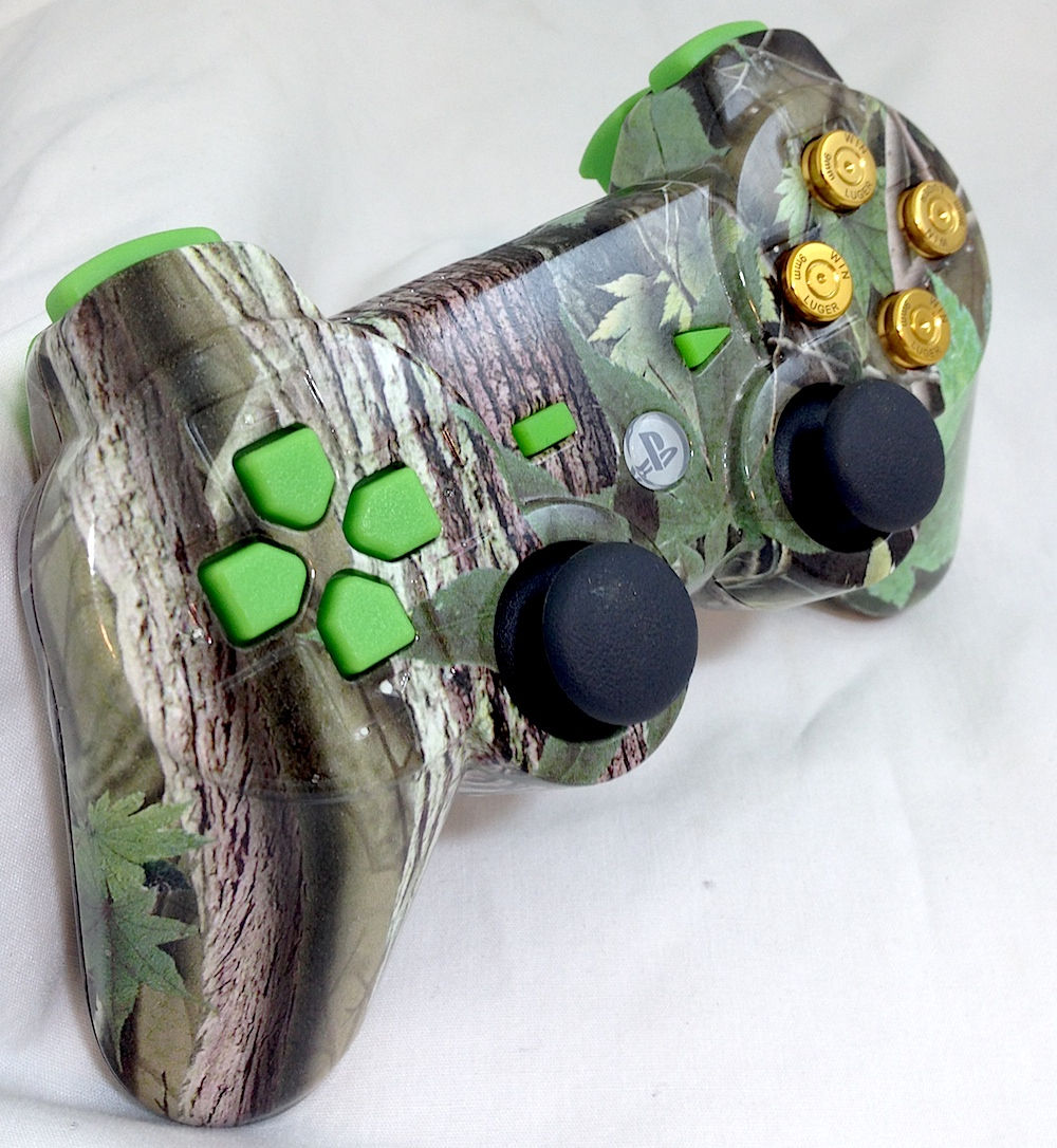 PS3 Green Leaf Camo With Custom Buttons