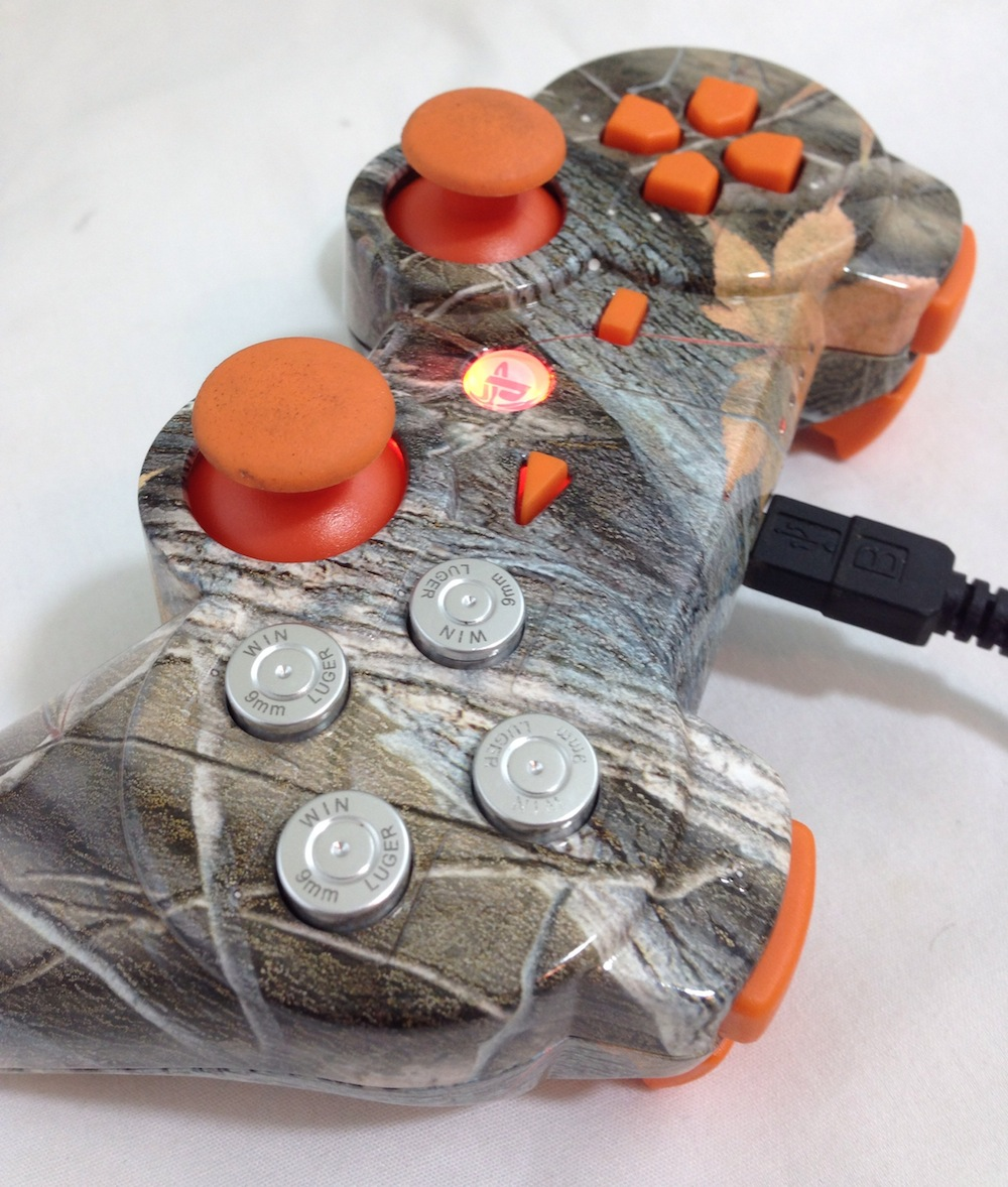 PS3 Custom Orange Leaf Camo