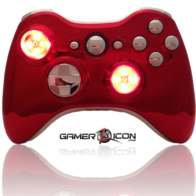 Xbox 360 Modded Controller Chrome Red Raptorfire