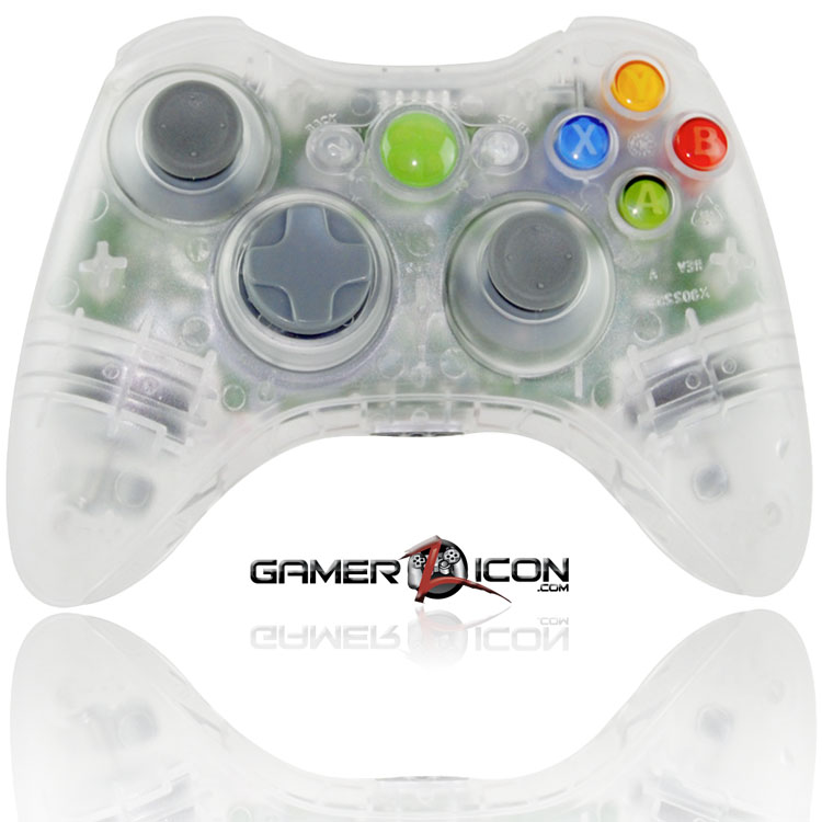 Xbox 360 Modded Controller Crystal Clear Transparent – Gamerzicon ...