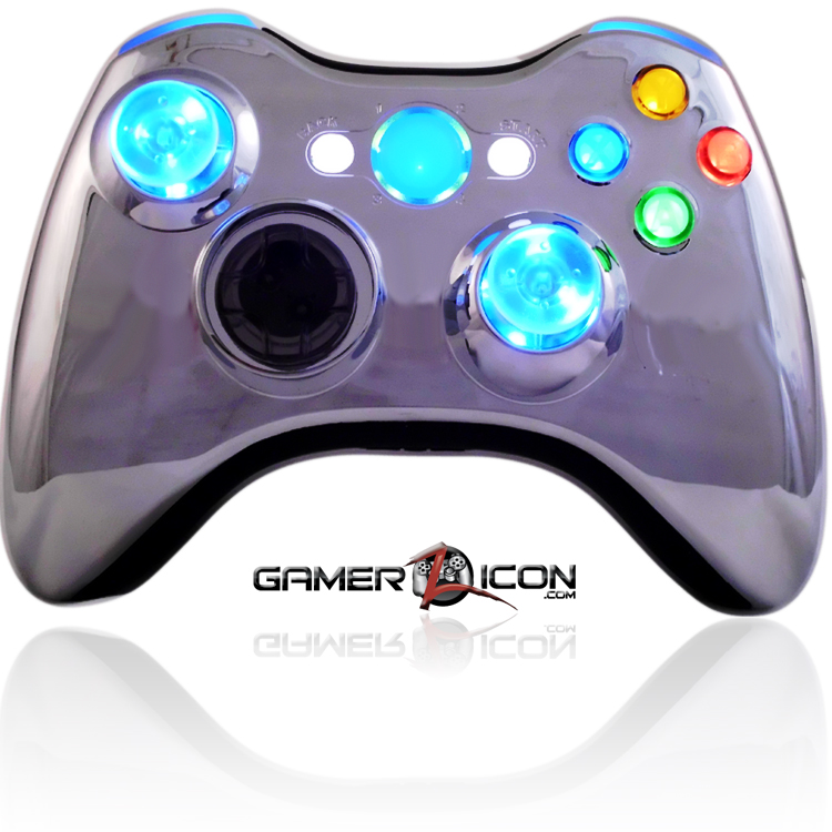Xbox 360 Modded Controller XCM Chrome Blue With LED Thumbsticks